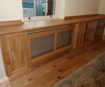 Bespoke Polished Oak Living Room Cabinets with Radiator Covers