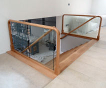 Modern Bespoke Polished Oak Staircase with Glass Banisters