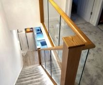 Polished Oak Glass Banister Revamp