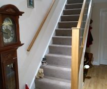 Polished Oak Glass Banister Revamp with Square Posts