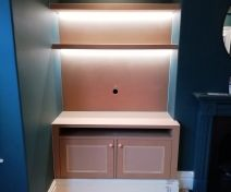 Bespoke Alcove Cabinet with Floating Shelves and LED Strip Lights