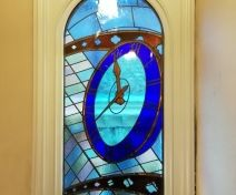 Bespoke Pre-finished Accoya Arch Top Window with Stained and Leaded Glass