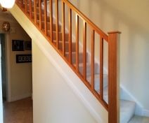 Polished Oak Banister Revamp with Square Spindles