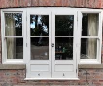 Pre-finished Accoya French Doors with Sash Windows Sidelights