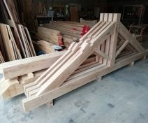 Manufacturing of 4 Green Oak Trusses with Purlins and Ridge boards.