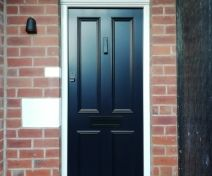 Pre-finished Accoya 4 Panel External Door and Arch Top Frame with an Automatic Locking Multipoint Lock System